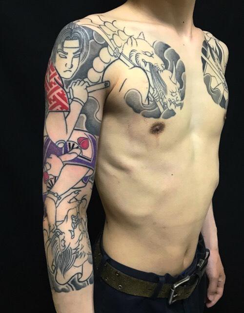 桃太郎の鬼退治の刺青、和彫り(Japanese Tattoo)の画像です。
