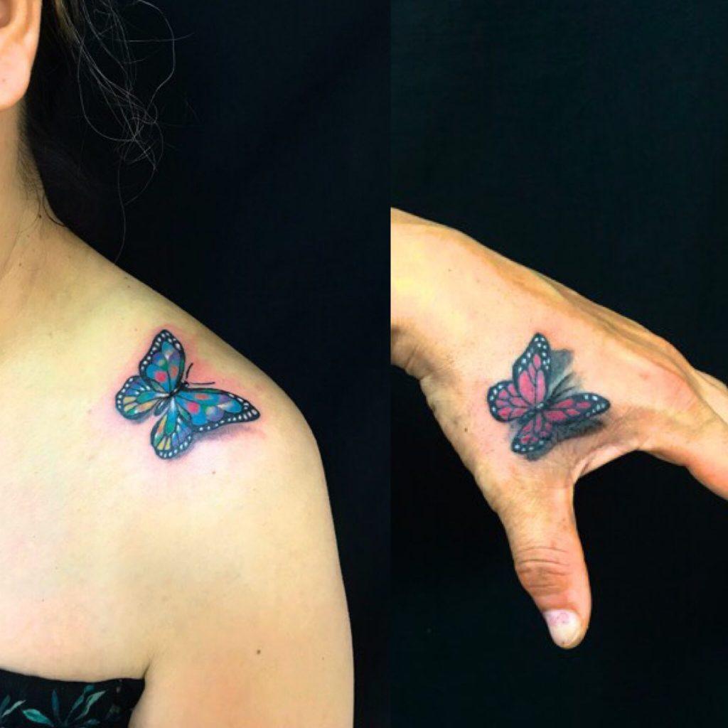 蝶 ※カバーアップのTattoo(タトゥー)、洋彫りの画像です。