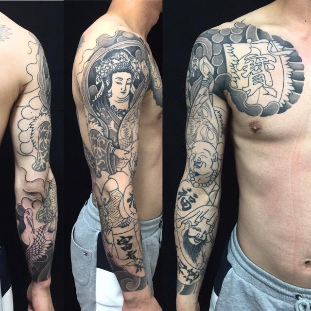 弁財天・布袋・福禄寿・鶴の刺青、和彫り(Japanese Tattoo)の画像です。