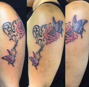 蝶と薔薇のTattoo(タトゥー)、洋彫りの画像です。