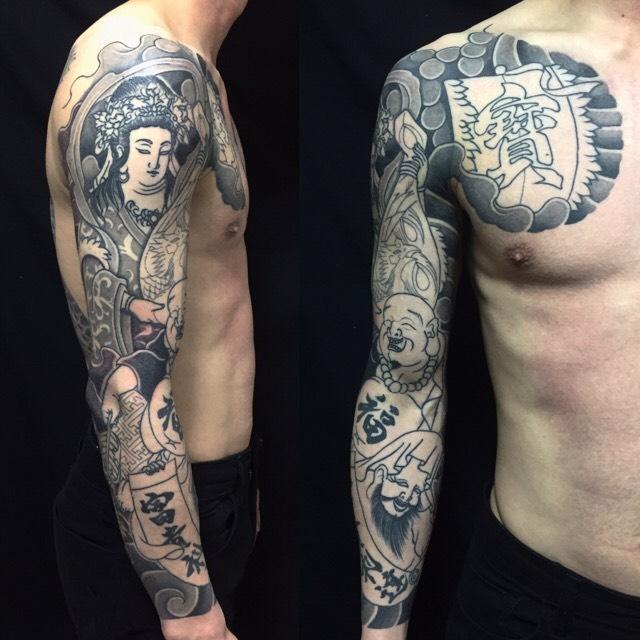 七福神・弁財天・布袋・福禄寿の刺青、和彫り(Japanese Tattoo)の画像です。