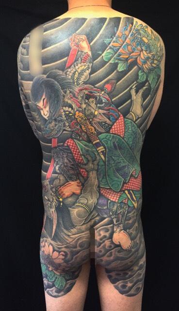 九紋龍史進の鬼退治の刺青、和彫り(Japanese Tattoo)の画像です。