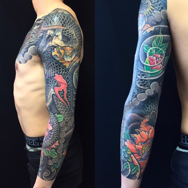龍・牡丹※リメイクの刺青、和彫り(Japanese Tattoo)の画像です。