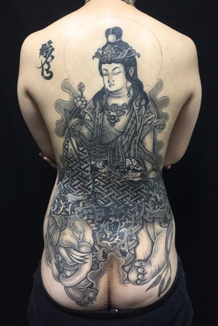 普賢菩薩 ※カバーアップの刺青、和彫り(Japanese Tattoo)の下絵画像