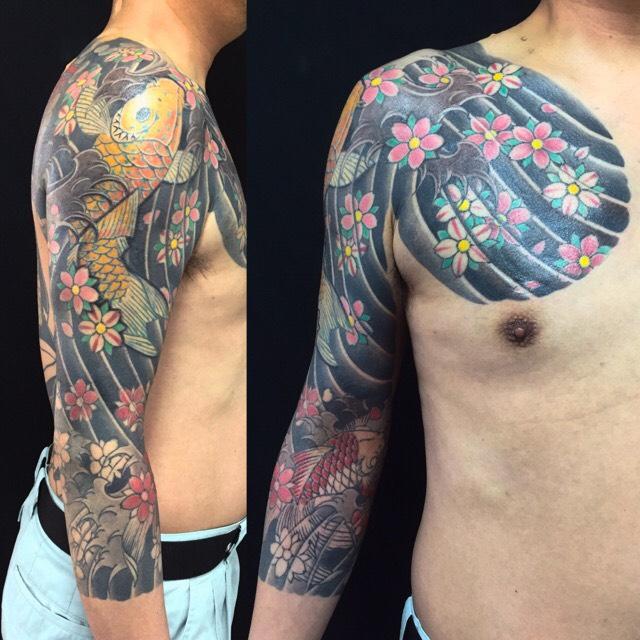 鯉・金魚・桜の刺青、和彫り(Japanese Tattoo)の画像です。