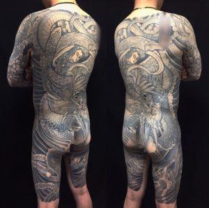 羽衣天女・龍・鳳凰の刺青、和彫り(Japanese Tattoo)の画像です。