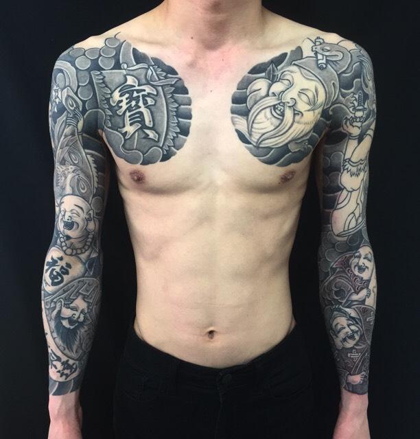 七福神・宝船の刺青、和彫り(Japanese Tattoo)の画像です。