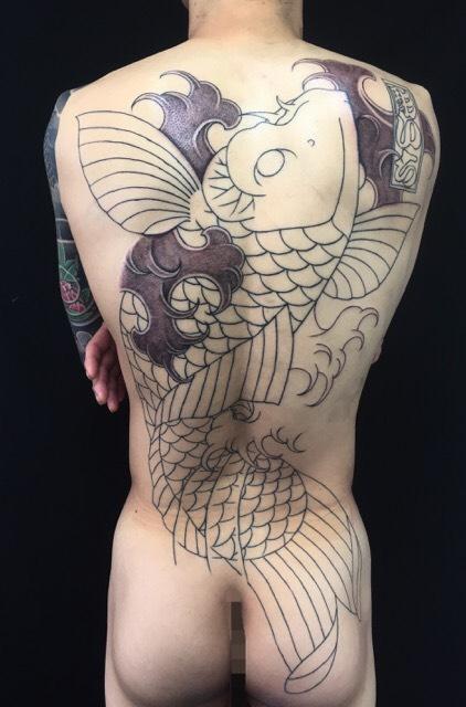 一匹鯉の刺青、和彫り(Japanese Tattoo)の画像です。