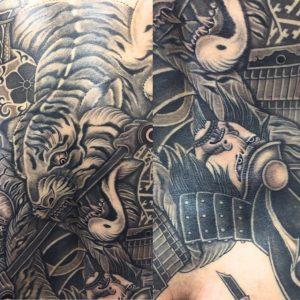 猛虎と加藤清正の刺青、和彫り(Japanese Tattoo)の画像です。
