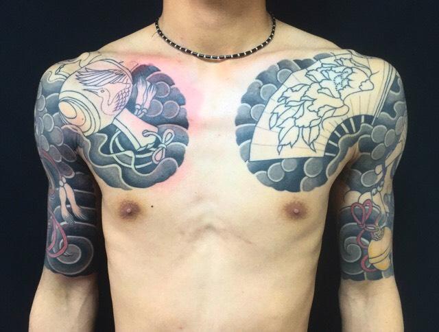 縁起物尽くしの刺青、和彫り(Japanese Tattoo)の画像
