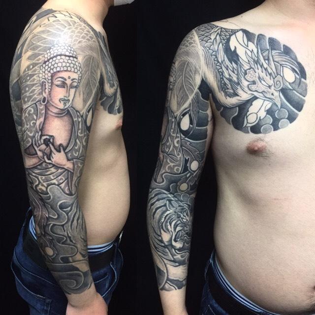 釈迦如来・朱雀・白虎の刺青、和彫り(Japanese Tattoo)の画像