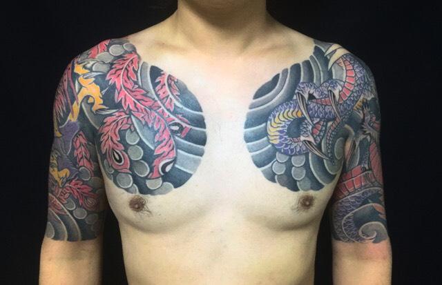応龍と鳳凰の刺青、和彫り(Japanese Tattoo)の画像