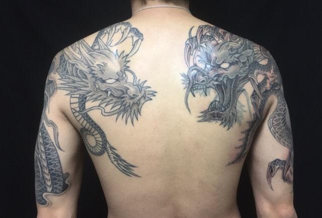阿吽の龍の刺青、和彫り(Japanese Tattoo)の画像