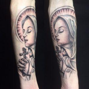 聖母マリアのTattoo(タトゥー)、洋彫りの画像