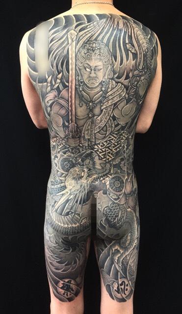 不動明王・昇龍の刺青、和彫り(Japanese Tattoo)の画像