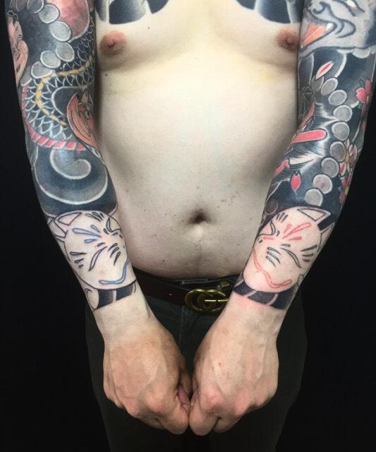 能面・狐の刺青、和彫り(Japanese Tattoo)の画像