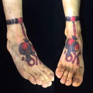 打ち出の小槌・数珠の刺青、和彫り(Japanese Tattoo)の画像