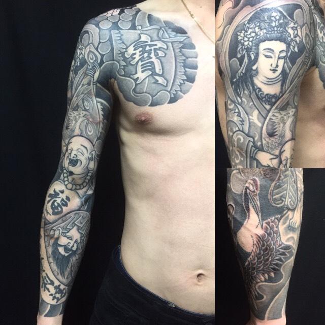 七福神・弁財天・布袋・福禄寿・控え長袖の刺青、和彫り(Japanese Tattoo)の画像