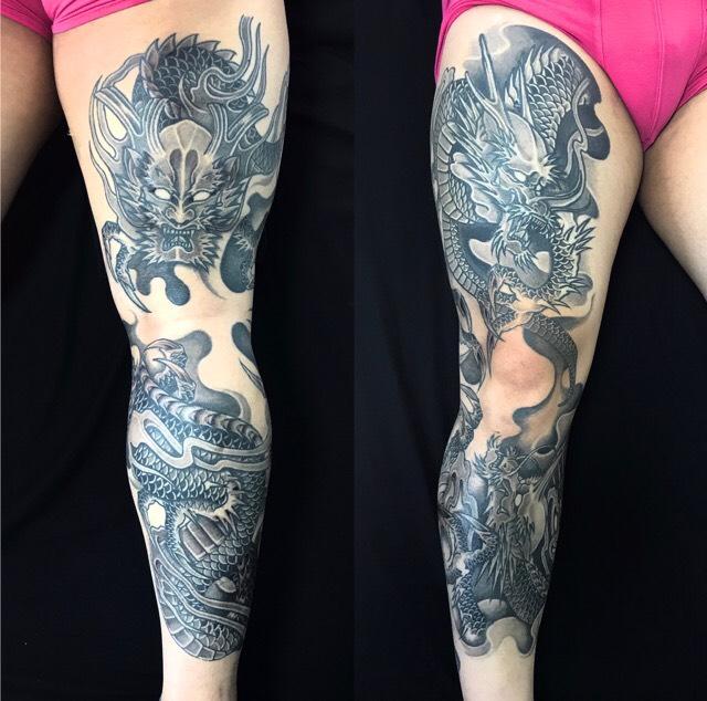阿吽龍・正面龍の刺青、和彫り(Japanese Tattoo)の画像