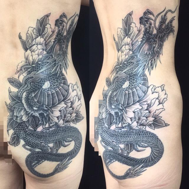 昇龍・牡丹 ※リメイクの刺青、和彫り(Japanese Tattoo)の画像