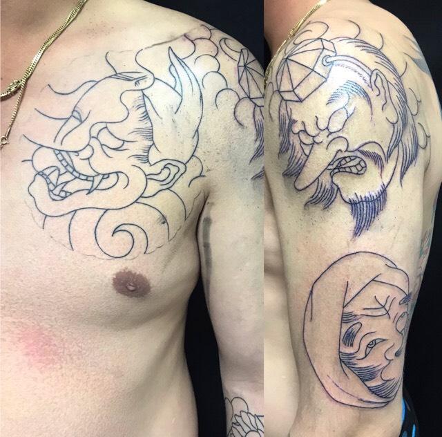 般若(能面)・天狗・ひょっとこの刺青、和彫り(Japanese Tattoo)の画像