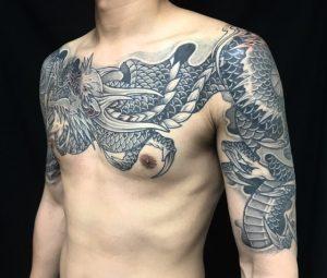 阿吽の三匹龍の刺青、和彫り(Japanese Tattoo)の画像