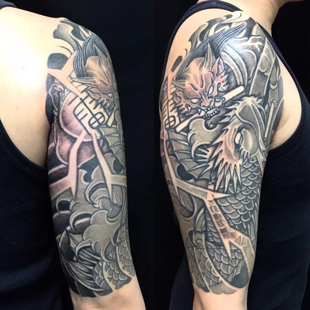 登龍門・雷神・雷の刺青、和彫り(Japanese Tattoo)の画像