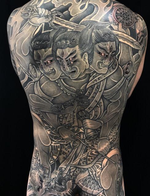 金剛夜叉明王・龍の刺青、和彫り(Japanese Tattoo)の画像