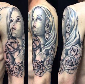 聖母マリア・クロス・薔薇のワンポイントTattoo(タトゥー)の画像