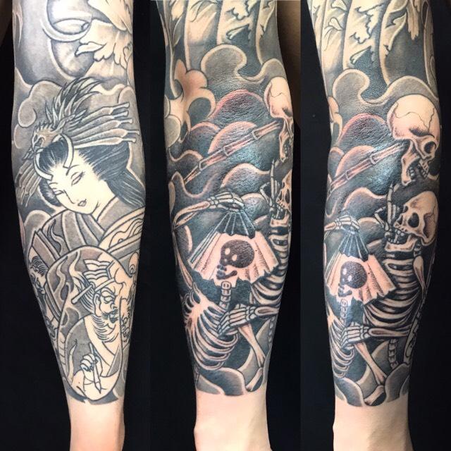 地獄太夫・骸骨の刺青、和彫り(Japanese Tattoo)の画像