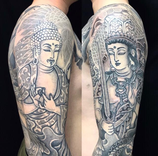 阿弥陀如来・虚空蔵菩薩の刺青、和彫り(Japanese Tattoo)の画像