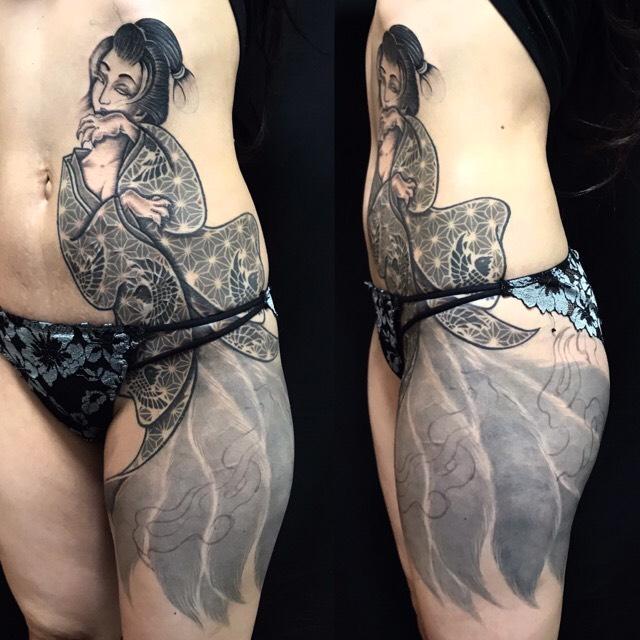 玉藻前 ※フルカバーアップ・リメイクの刺青、和彫り(Japanese Tattoo)の画像