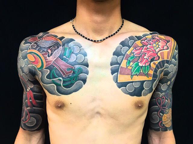 縁起物散らしの刺青、和彫り(Japanese Tattoo)の画像