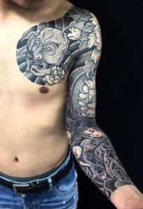 能面 怪士・地獄太夫・骸骨・牡丹散らしの刺青、和彫り(Japanese Tattoo)の画像