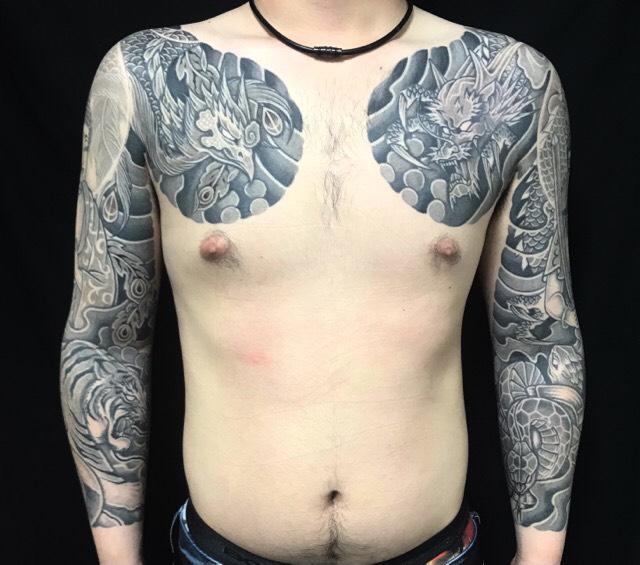 青龍・朱雀・白虎・玄武の刺青、和彫り(Japanese Tattoo・タトゥー)の画像
