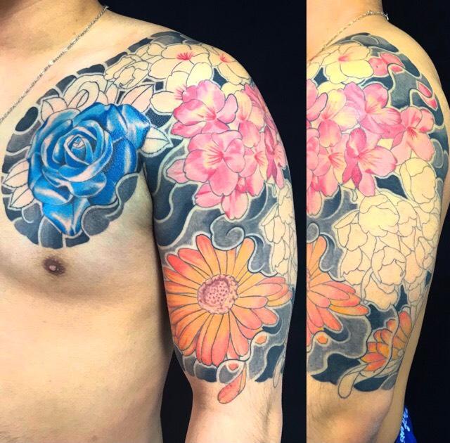 薔薇・寒緋桜・金盞花の刺青、和彫り(Japanese Tattoo・タトゥー)の画像