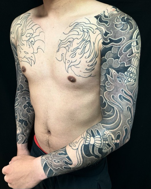 迦楼羅炎・密教法具の刺青、和彫り(Japanese Tattoo・タトゥー)の画像