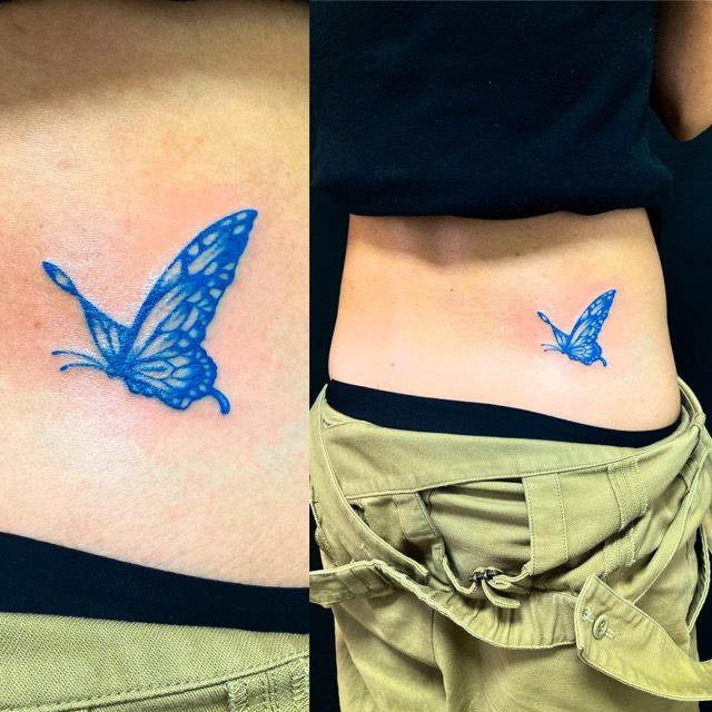 蝶(ブルーバタフライ)のワンポイントTattoo(タトゥー)の画像
