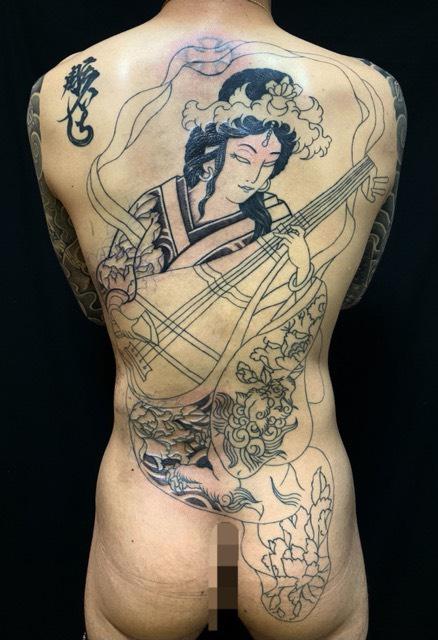 弁財天の刺青、和彫り(Japanese Tattoo・タトゥー)の画像