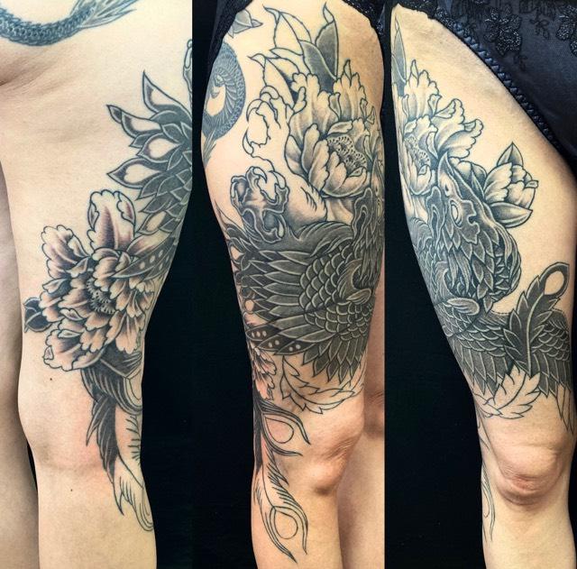 鳳凰・牡丹の刺青、和彫り(Japanese Tattoo・タトゥー)の画像