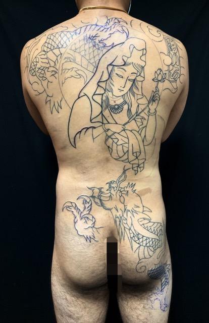 騎龍観世音菩薩の刺青、和彫り(Japanese Tattoo・タトゥー)の画像
