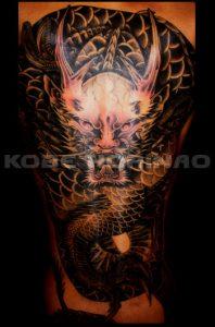 正面龍の刺青、和彫り(Japanese Tattoo)画像