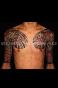 登り鯉、下り鯉、桜花散らしの刺青、和彫り(Japanese Tattoo)画像