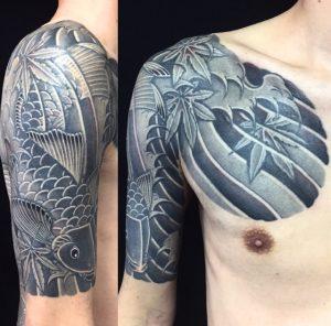 下り鯉・紅葉の刺青、和彫り(Japanese Tattoo)の画像