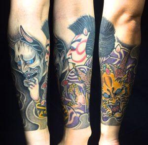 石川五右衛門・般若面・桜の刺青、和彫り(Japanese Tattoo)の画像です。