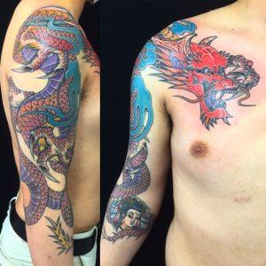 紅蓮龍の刺青、和彫り(Japanese Tattoo)の画像