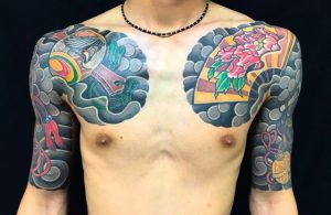 縁起物尽くし(控え五分袖)の刺青、和彫り(Japanese Tattoo・タトゥー)の画像